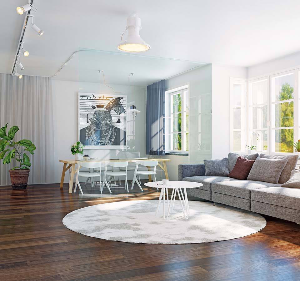 image of nice living room with hardwood flooring